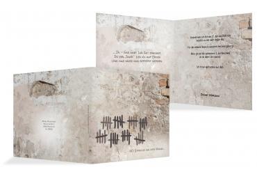 Einladung Striche An Der Wand 40 DunkelgrauBraun 145x145mm