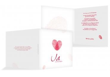 Hochzeit Einladung Fingerprint Rot 145x145mm