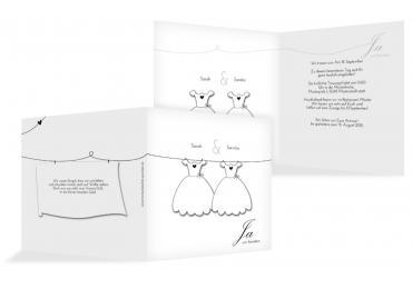 Hochzeit Einladung Dresses Weiß 145x145mm