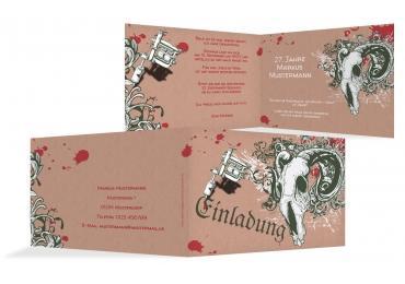 Einladungskarte Tattoo WeinRot 148x105mm