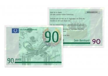 Geburtstagseinladung Geldschein 90 DunkelGrün 148x105mm