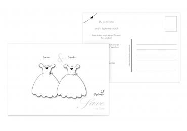 Save-the-Date dresses Weiß 148x105mm