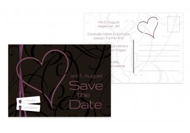 Save-the-Date Band Pinkdunkellila 148x105mm