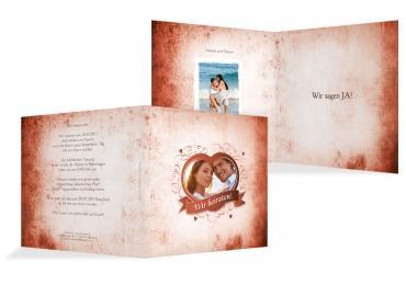 Hochzeit Einladung Herz Orangerot 145x145mm