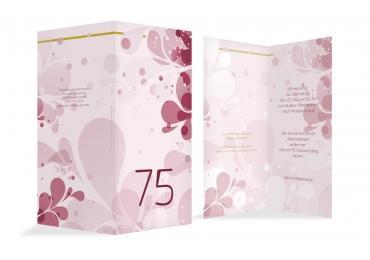 Einladungskarte Flora 75 Dunkelrot 105x215mm