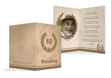 Einladungskarte Lorbeerkranz 80 Foto BeigeOrange 105x148mm