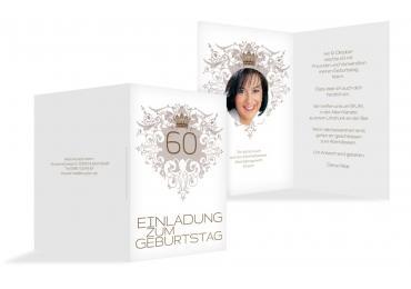 Einladungskarte Krone 60 Foto Braunmatsch 105x148mm