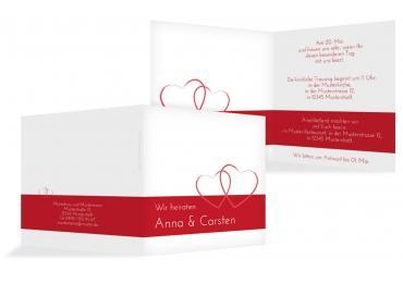 Hochzeit Einladung Herzensband Rot 145x145mm