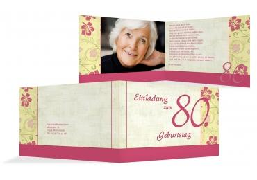 Karte Zum Geburtstag Hibiskus 80 Foto Pinkrosa 148x105mm