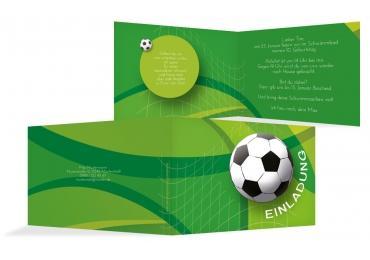 Einladungen Fußball Grasgruen 148x105mm