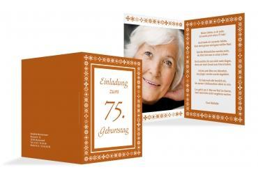 Einladungskarte Florale Elemente 75 Foto Orange 105x148mm