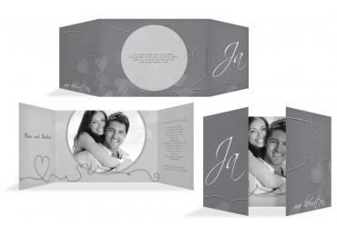 Hochzeit Einladung Ewiges Band Grau 148x105mm