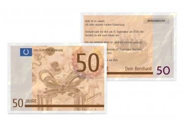 Geburtstagseinladung Geldschein 50 Braunmatsch 148x105mm