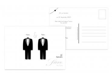 Save-the-Date suits Weiß 148x105mm