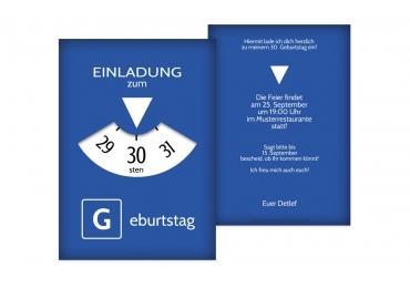 Schön Geburtstagseinladung Parkuhr 30 Blau 105x148mm