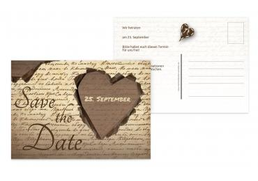 Save-the-Date Herzensgedicht Braun 148x105mm