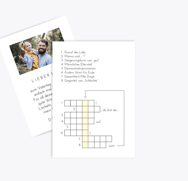 Ansicht 2 - Vatertagskarte Kreuzworträtsel
