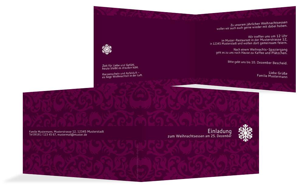 klassische weihnachtseinladungen | karten-paradies.de, Einladung