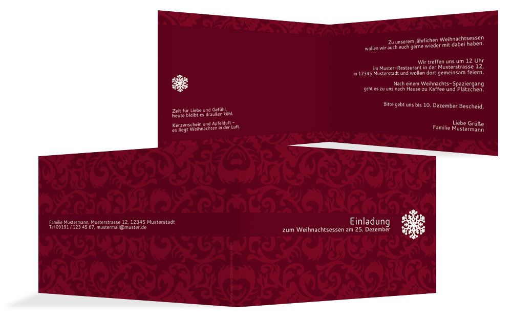 klassische weihnachtseinladungen | karten-paradies.de, Einladungen