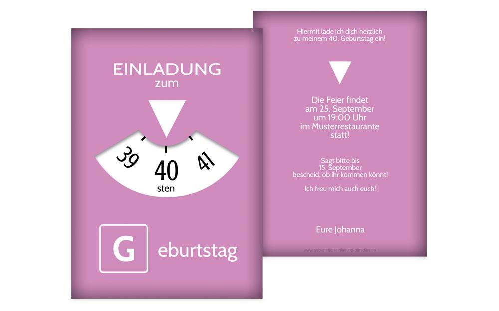 einladungen zum 40. geburtstag | karten-paradies.de, Einladung
