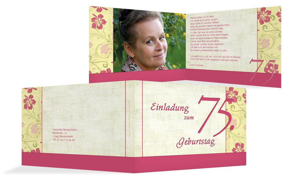 einladungen zum 75. geburtstag | karten-paradies.de, Einladungsentwurf