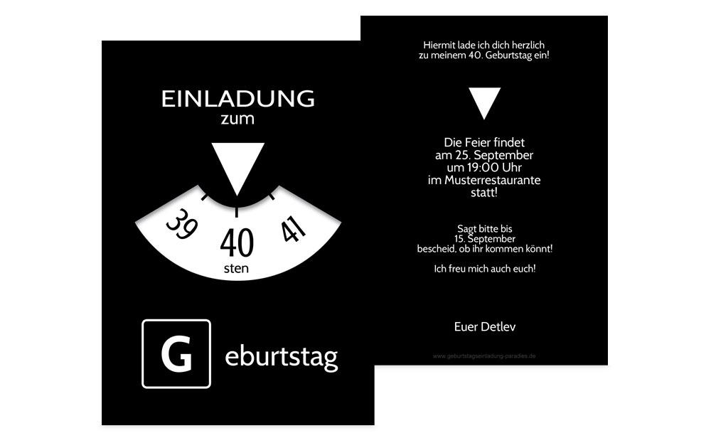 einladungen zum 40. geburtstag | karten-paradies.de, Einladungsentwurf
