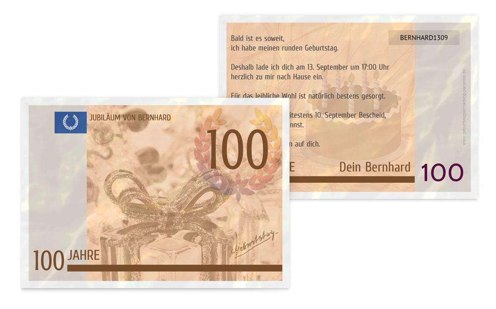 100. geburtstag | einladung | karten-paradies.de, Einladung