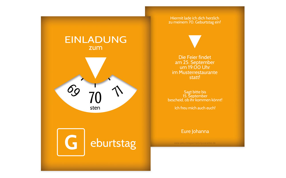 einladungen zum 70. geburtstag| karten-paradies.de, Einladung